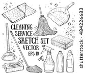 set of cleanings tools isolated ... | Shutterstock .eps vector #484226683