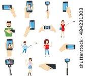 cartoon selfie icons set....