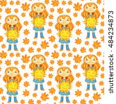 bright seamless pattern with... | Shutterstock . vector #484234873