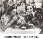 two women distracted from their ...   Shutterstock . vector #484245433