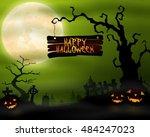 halloween background with... | Shutterstock . vector #484247023