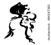 rooster. vector. brush. graphic. | Shutterstock .eps vector #484247383