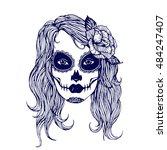 girl with skeleton make up hand ...   Shutterstock .eps vector #484247407