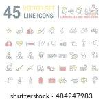vector graphic set in linear... | Shutterstock .eps vector #484247983