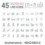 vector graphic set in linear... | Shutterstock .eps vector #484248013