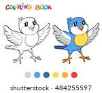 coloring book with blue bird.... | Shutterstock .eps vector #484255597
