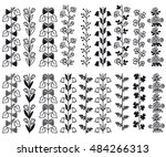 vector set of floral hand drawn ... | Shutterstock .eps vector #484266313