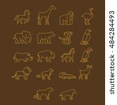 various animal icon. thin line... | Shutterstock .eps vector #484284493