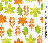 seamless pattern with autumn... | Shutterstock .eps vector #484293667