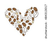 heart of coffee beans | Shutterstock .eps vector #484313017