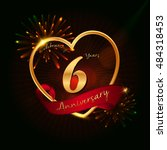 6 years anniversary logo golden ... | Shutterstock .eps vector #484318453