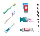 cartoon flat style tooth care... | Shutterstock .eps vector #484338997