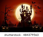 halloween night background with ... | Shutterstock . vector #484379563