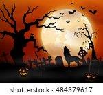 halloween night background with ... | Shutterstock . vector #484379617
