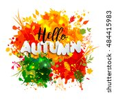 text autumn in paper style on... | Shutterstock .eps vector #484415983