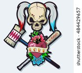 harlequin skull with hammer and ... | Shutterstock .eps vector #484429657
