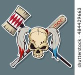 harlequin skull with hammer and ... | Shutterstock .eps vector #484429663