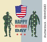 happy veterans day and soldier... | Shutterstock .eps vector #484445683
