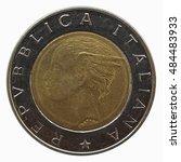 Italian 500 Lire Coin Isolated...