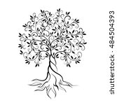 olive tree outline curl... | Shutterstock .eps vector #484504393
