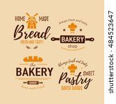 set of bakery badges with bread ... | Shutterstock .eps vector #484523647