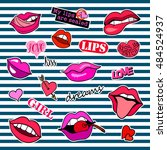 fashion patch badges with... | Shutterstock .eps vector #484524937