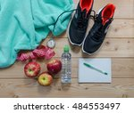 fitness concept with sneakers.... | Shutterstock . vector #484553497