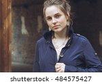 beautiful woman face portrait... | Shutterstock . vector #484575427