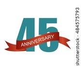 forty five years anniversary... | Shutterstock . vector #484575793
