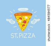"heaven pizza concept ""st. pizza""... | Shutterstock .eps vector #484584577"
