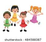 group of happy girls cartoon... | Shutterstock .eps vector #484588387
