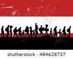 silhouettes of refugees and... | Shutterstock .eps vector #484628737