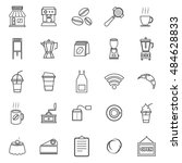 coffee shop line icons on white ... | Shutterstock .eps vector #484628833