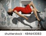 beautiful young woman floating... | Shutterstock . vector #484643083