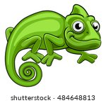 A Cartoon Chameleon Green...