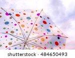 white umbrella with raindrop | Shutterstock . vector #484650493