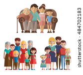 set happy big family. | Shutterstock .eps vector #484702183