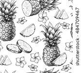 vector pineapples hand drawn... | Shutterstock .eps vector #484709467