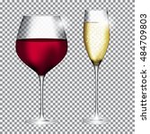 glass of champagne and wine on... | Shutterstock . vector #484709803