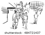 people in urban scene | Shutterstock . vector #484721437