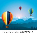 colorful hot air balloons... | Shutterstock .eps vector #484727413