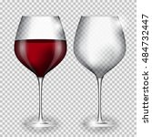 full and empty glass of wine on ... | Shutterstock . vector #484732447