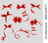 red ribbon and bow set on...   Shutterstock . vector #484732477