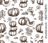 vector hand drawn seamless... | Shutterstock .eps vector #484742893