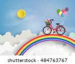 bicycle riding on a rainbow... | Shutterstock .eps vector #484763767