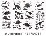 dinosaur cartoon collection set ... | Shutterstock .eps vector #484764757