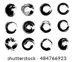 set of black grunge circle... | Shutterstock .eps vector #484766923