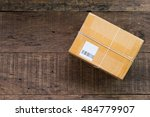 cardboard box taped up on... | Shutterstock . vector #484779907