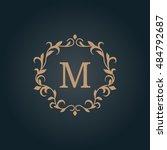 elegant floral monogram design... | Shutterstock . vector #484792687