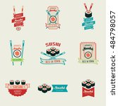 set of sushi bar vector logos... | Shutterstock .eps vector #484798057